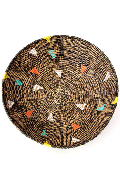 Black Grain Basket with Rainbow Triangles - 20""
