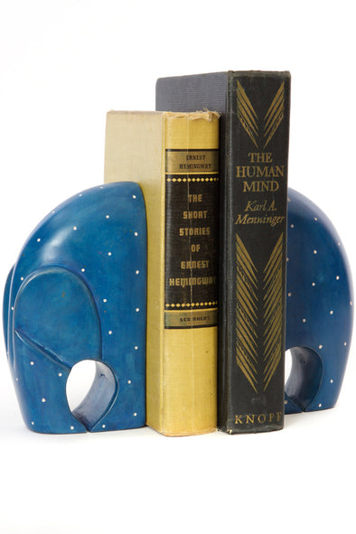Polka Dot Soapstone Elephant Bookends