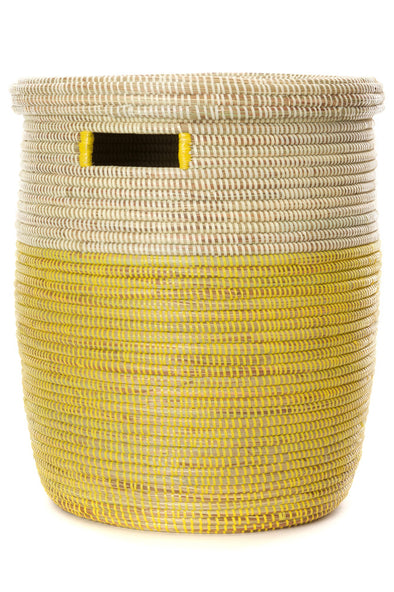 Lemon Dipped Basket with Flat Lid