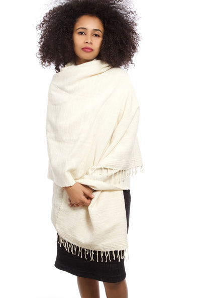 Traditional Natural Cotton Ethiopian Wrap Shawl