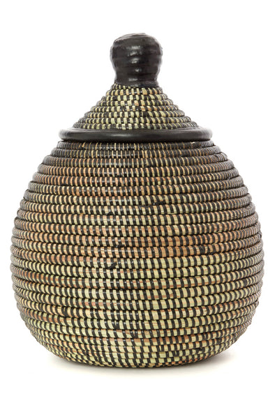 Black Lidded Gourd Basket with Leather Trim