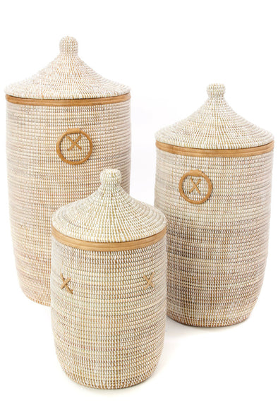 Set of Three White Hampers with Tan Leather Trim