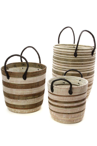 Set of Three Black Mixed Stripe Baskets with Leather Handles