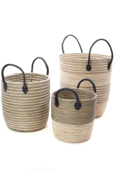 Set of Three Silver Mixed Stripe Baskets with Leather Handles