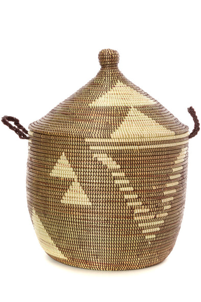 Brown and Cream Tribal Design Basket