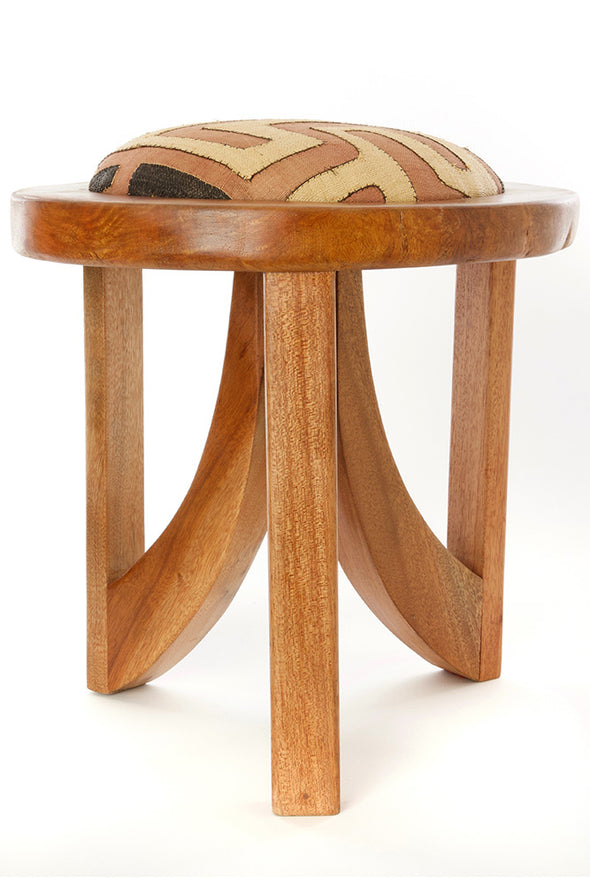 Mahogany Triad Stool with Congo Kuba Raffia Puff for Home and Office