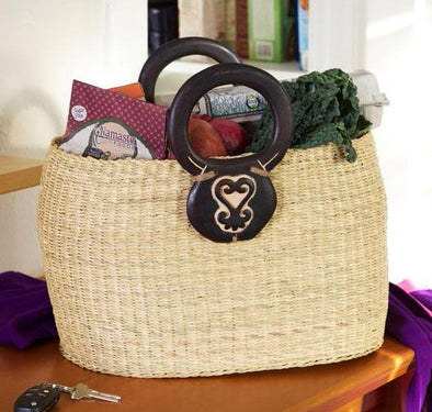 Adinkra Oval Elephant Grass Shopper with Sankofa