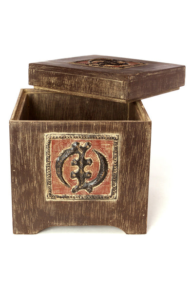 Wooden Storage Chest with Gye Nyame Adinkra Symbol