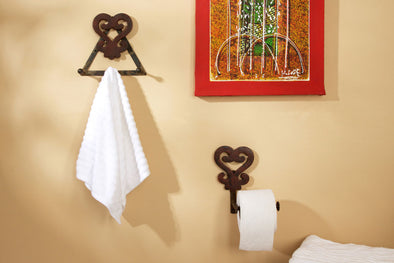 Brown Adinkra Triple Wall Hook with Toilet Paper Holder