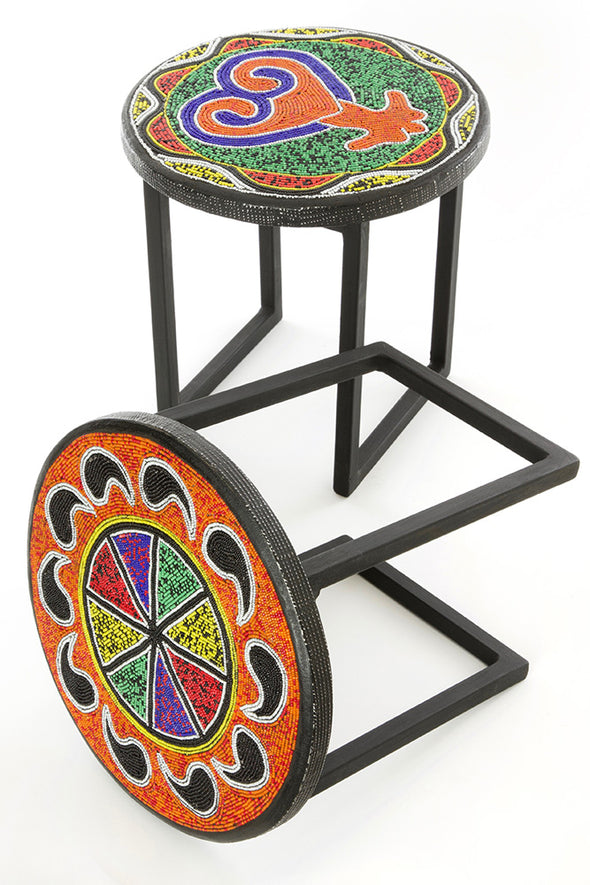 Intricately Beaded Sankofa or Paisley Cocktail Stool 12""