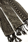 Black and White Ndomo Pattern Cotton Shawl from Mali