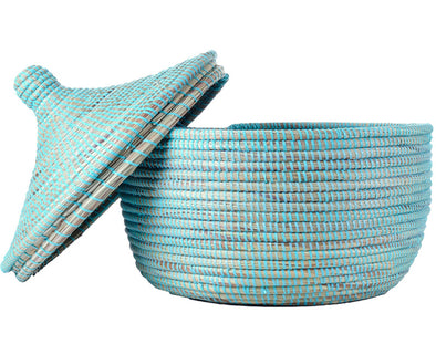 Prayer Mat Warming Basket - Aqua