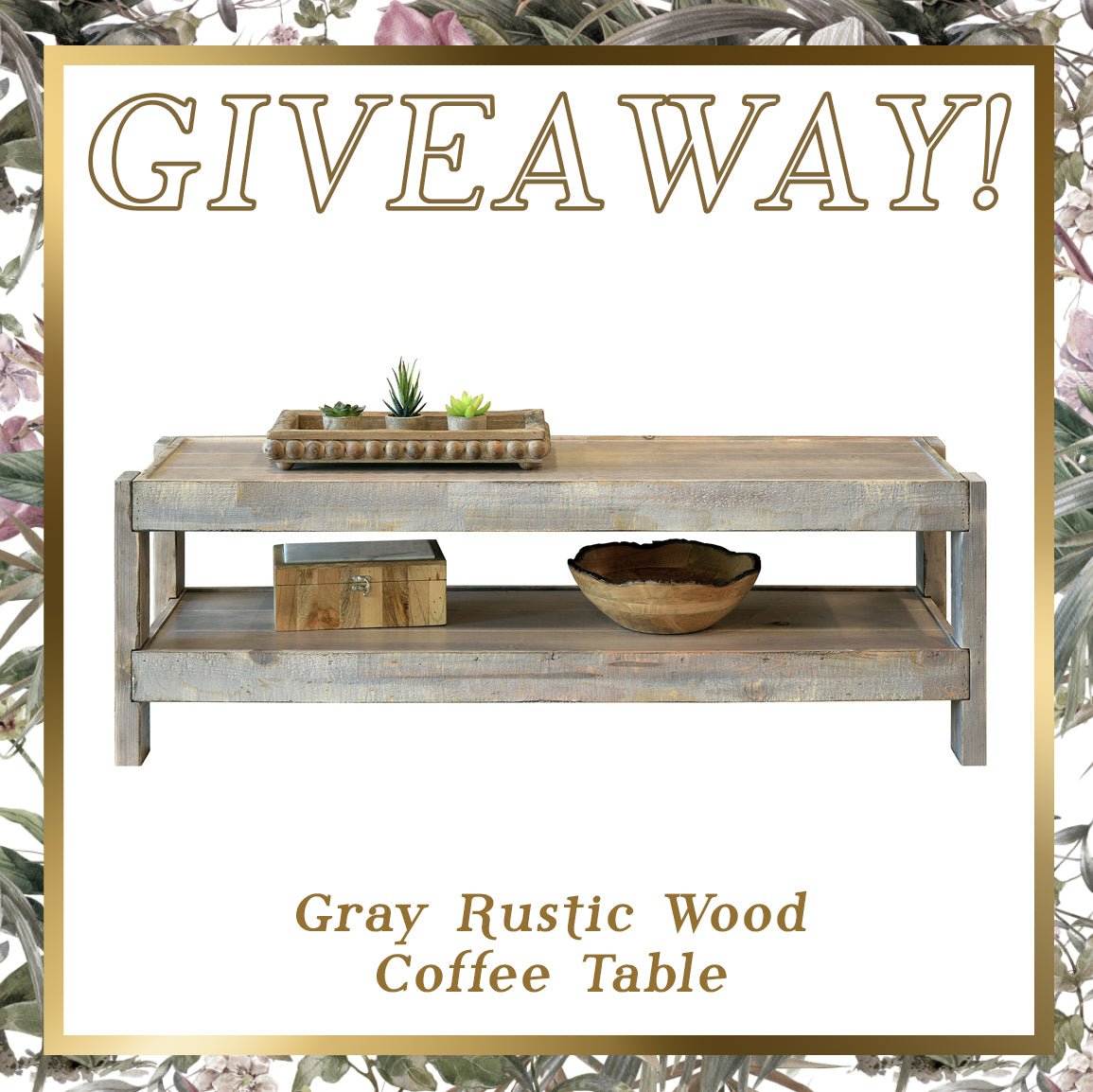 Rustic Gray Wood Coffee Table Giveaway
