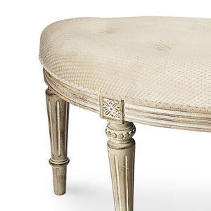 French Shabby Chic Cerused Half Round Upholstered Bench