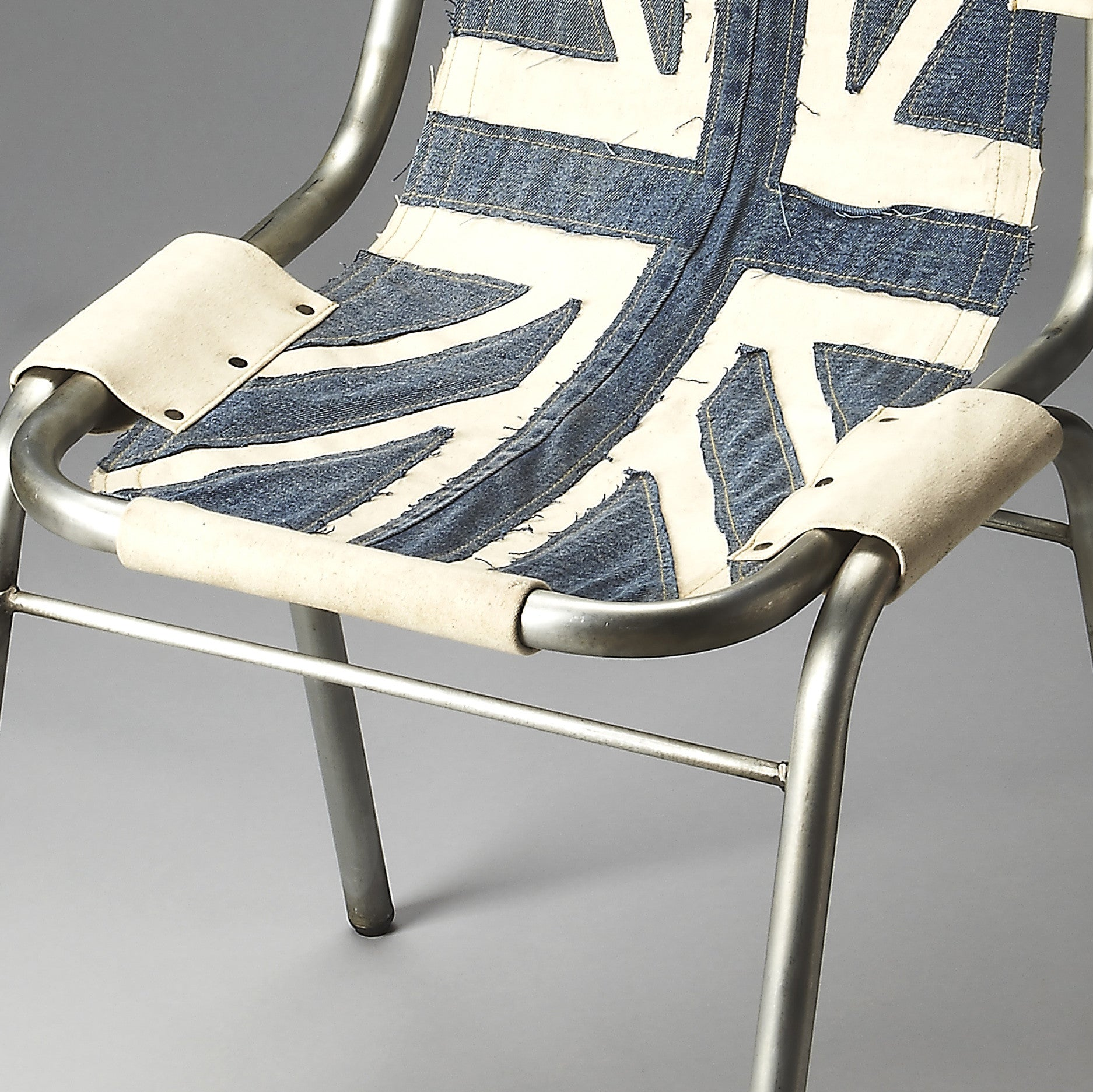 Pleasant Industrial Modern Canvas And Denim Accent Chair Andrewgaddart Wooden Chair Designs For Living Room Andrewgaddartcom