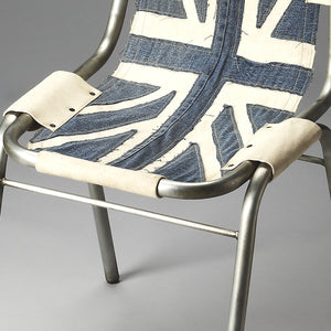 Industrial Modern Canvas and Denim Accent Chair