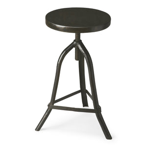 Industrial Modern Iron Adjustable Stool With Dark Wood Top
