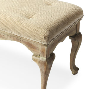 French Shabby Chic Cerused Upholstered Bench