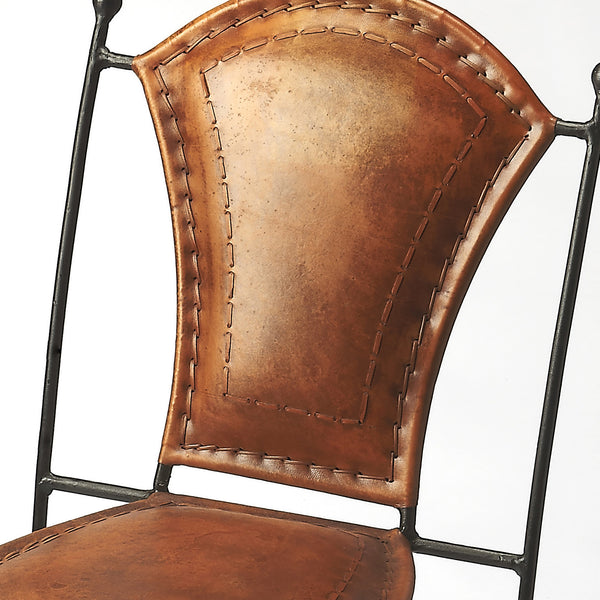 Southwestern Spanish Leather And Iron Dining Chair