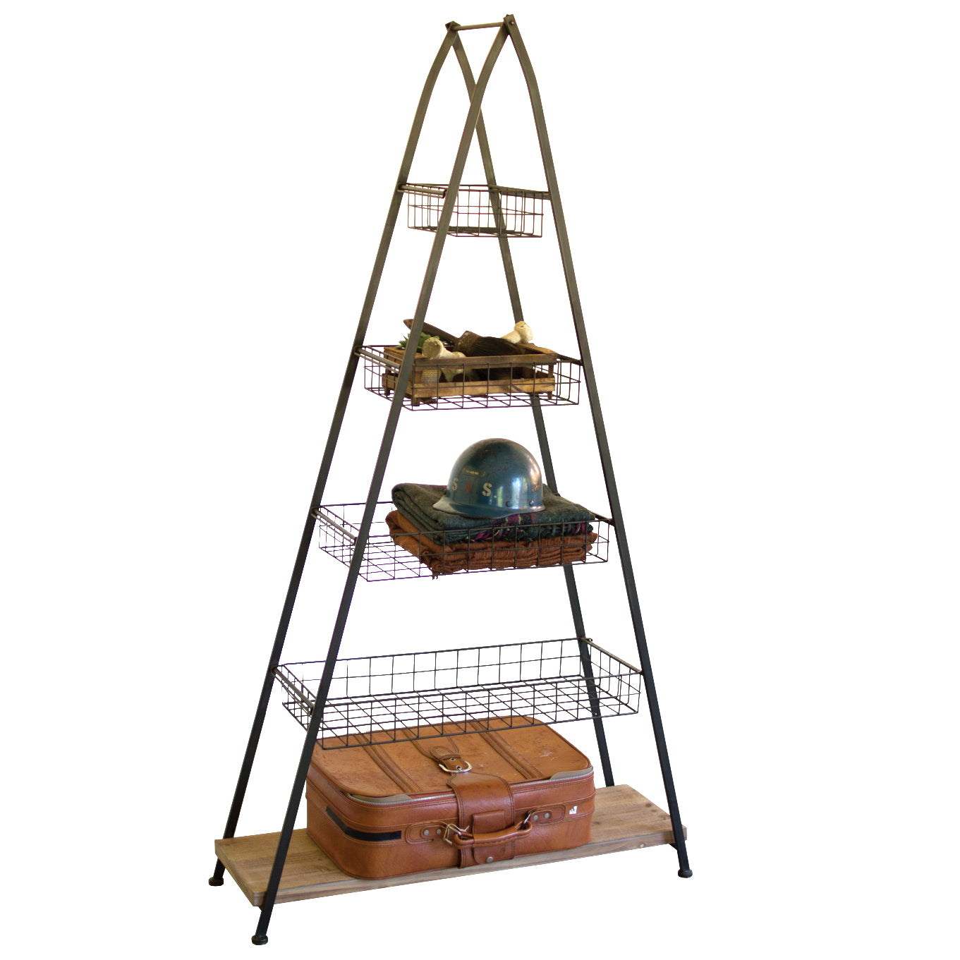 A-Frame Storage Shelf With Wire Baskets