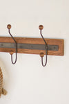 Industrial Modern Wood and Metal Wall Coat Rack
