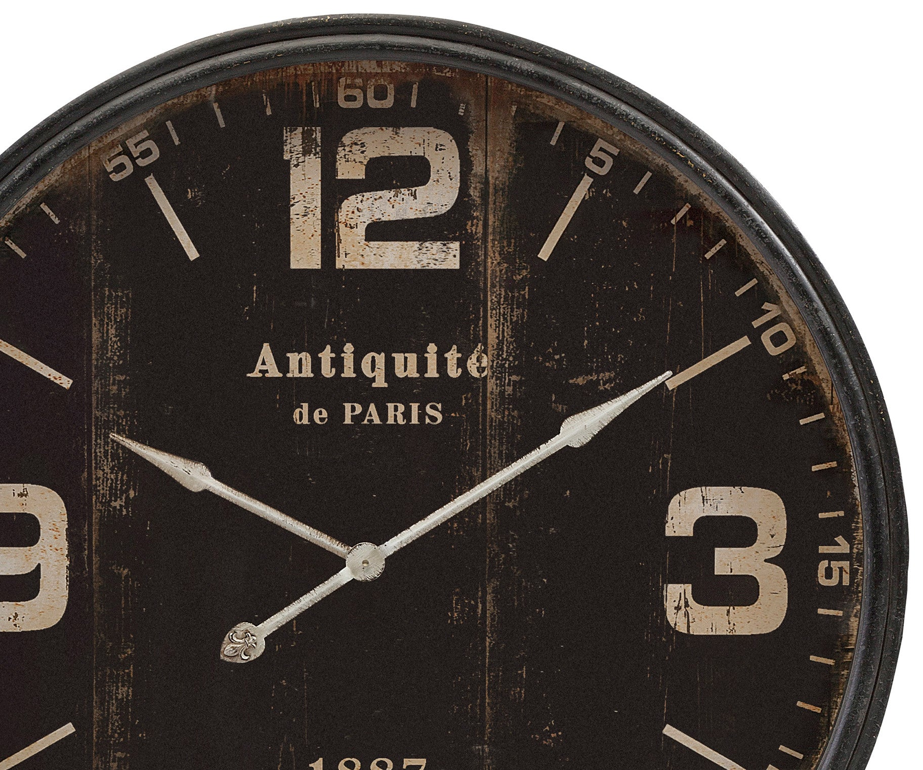 Modern rustic wall clocks woodwaves distressed black wall clock amipublicfo Image collections