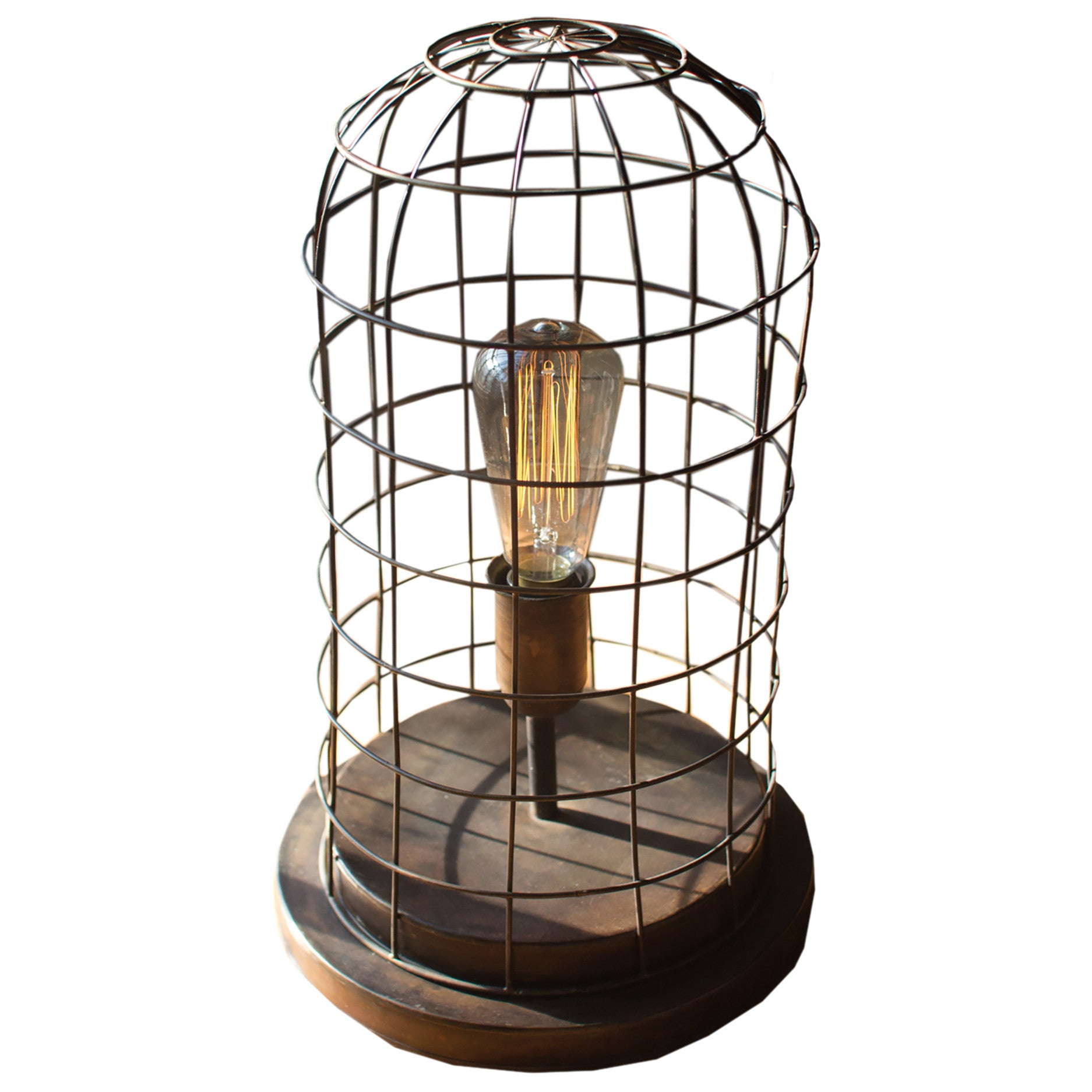 Modern table lamps woodwaves aged brass finish edison wire cage accent lamp greentooth Images