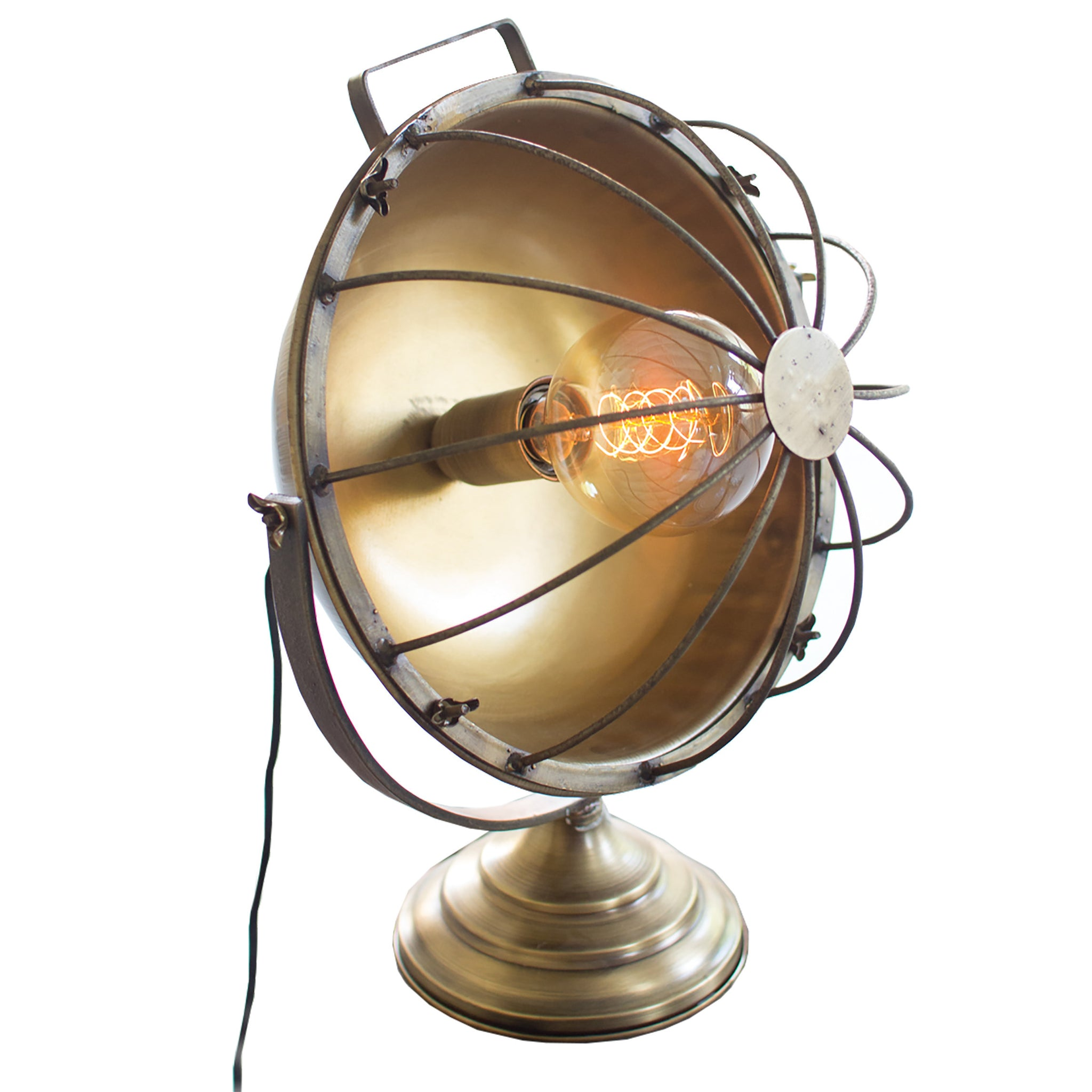 Aged Brass Finish Vintage Fan Style Edison Table Lamp Woodwaves