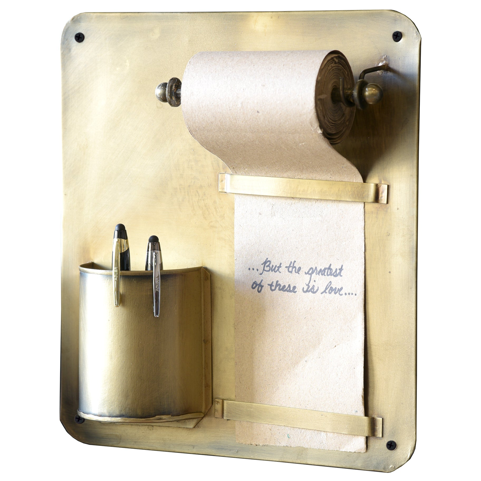 Aged Brass Hanging Wall Mount Pencil Pen Holder Note Roll