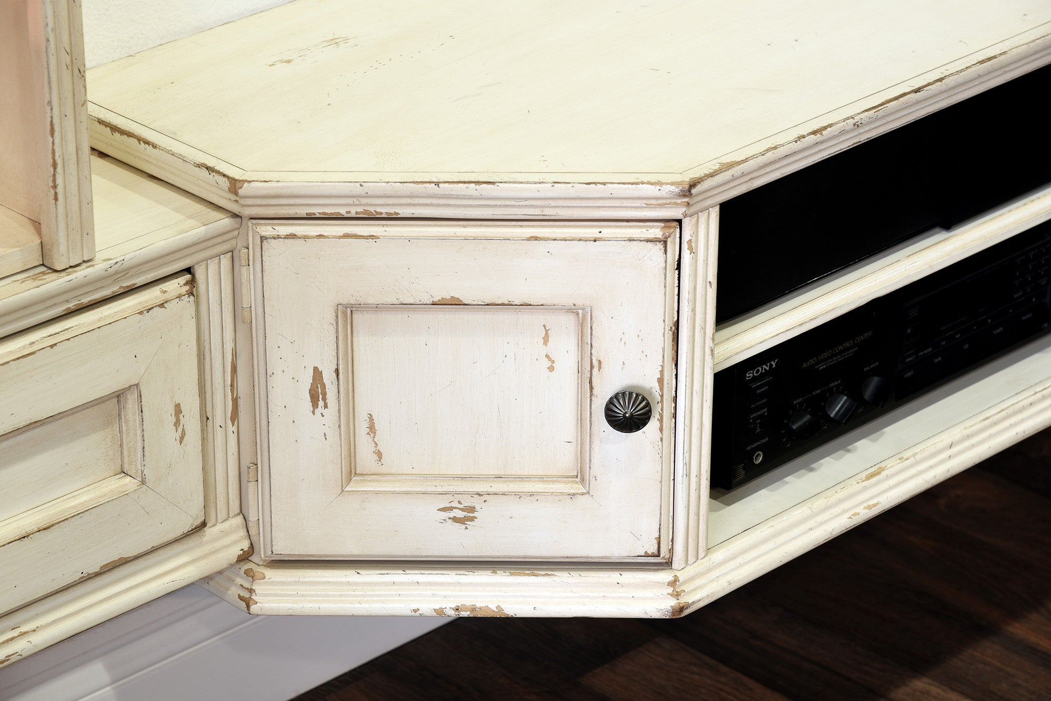 French cottage shabby chic floating entertainment center tv stand vi