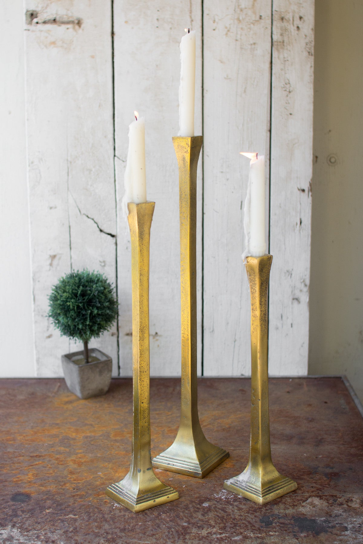 Antique Gold Brass Finish Tall Taper Candle Holders - Set of 3