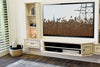 French Cottage Shabby Chic Floating Entertainment Center TV Stand - Vintage - 3 Piece & Bookcases - Antique White
