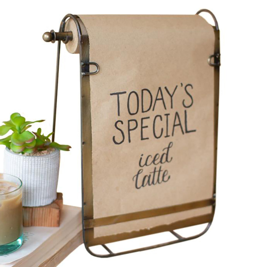Antiqued Brass Easel with Note Roll