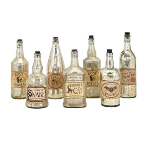 Apothecary Vintage Halloween Bottles - Set of Seven