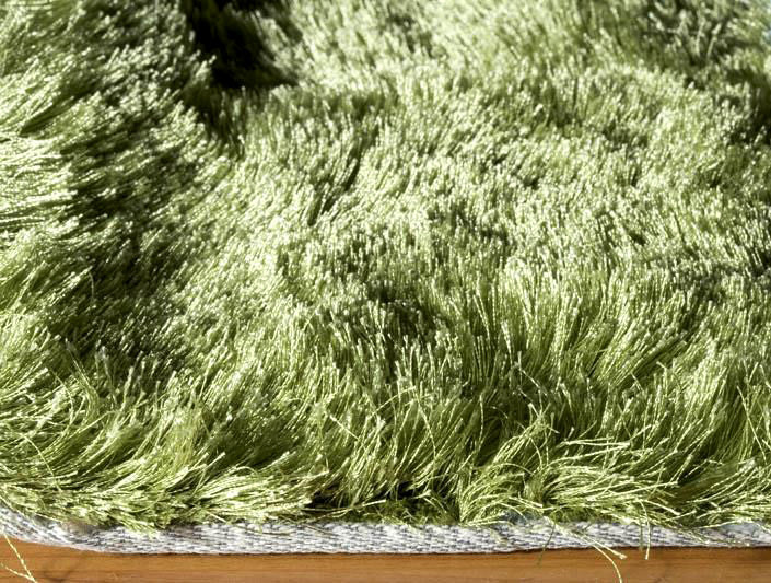 Captivating Green Plush Luxurious Mid Century Modern Shag Rug