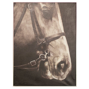 Black and White Horse Side View Oil Painting With Silver Frame