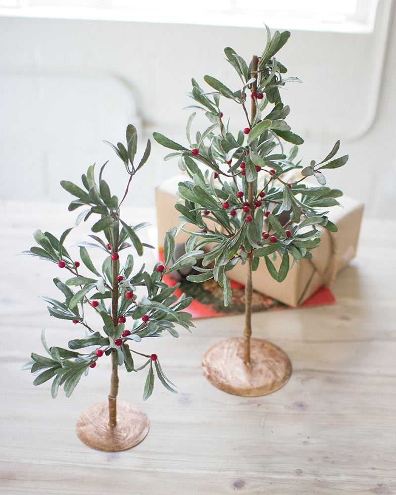 Artificial Mistletoe Christmas Trees - Set of Two