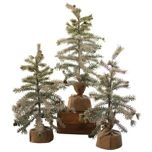 Artificial Pine Trees With Snow Christmas Winter Decor - Set of 3