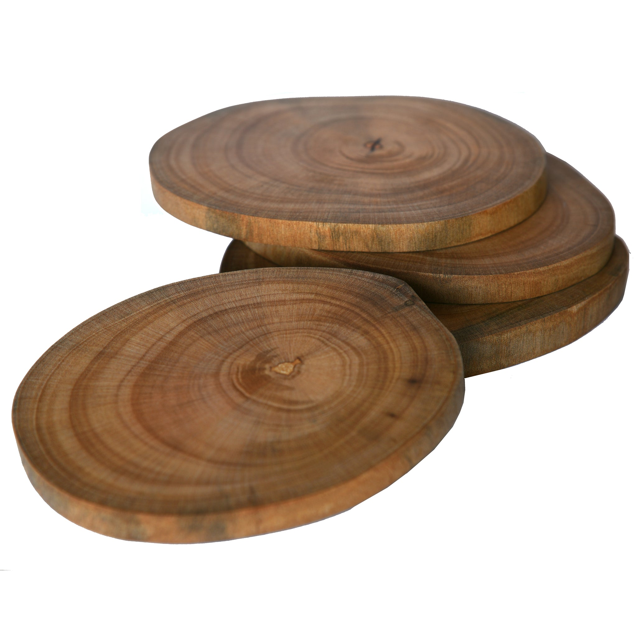 Reclaimed Wood Slice Coasters - Set Of 4