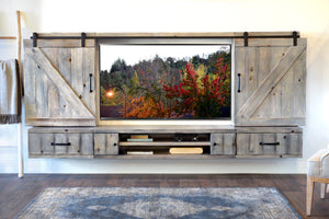 Barn Door Floating TV Stand Entertainment Center - Farmhouse - Lakewood Gray