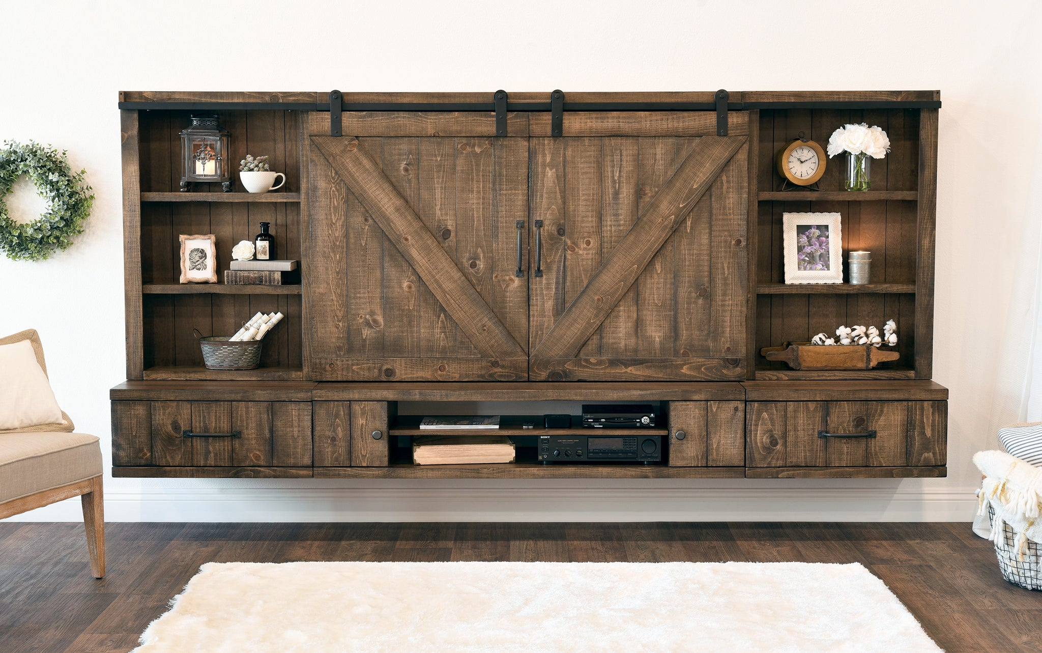 Farmhouse Barn Door Entertainment Center Floating TV Stand   Spice