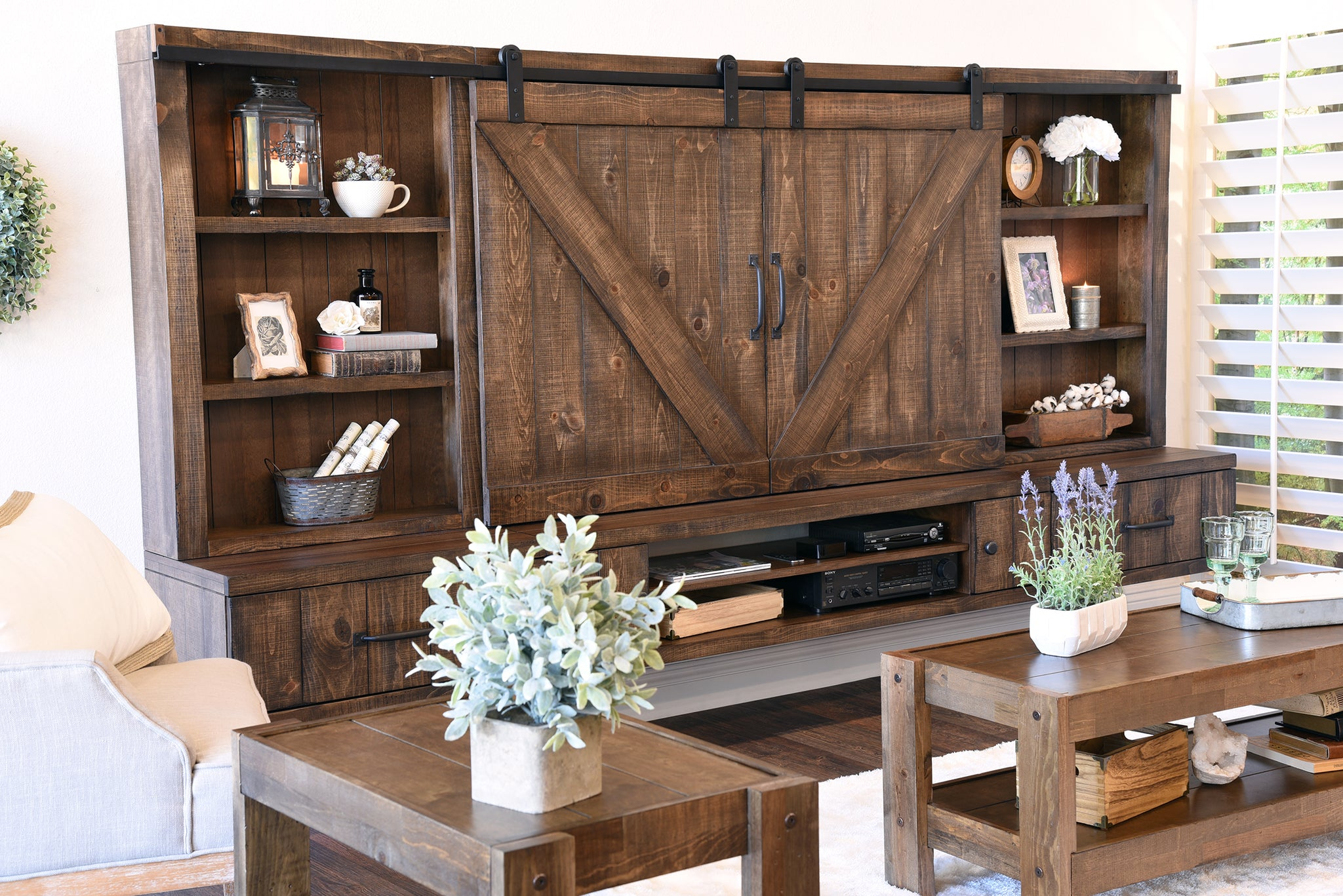 Farmhouse Barn Door Entertainment Center Floating TV Stand - Spice ...