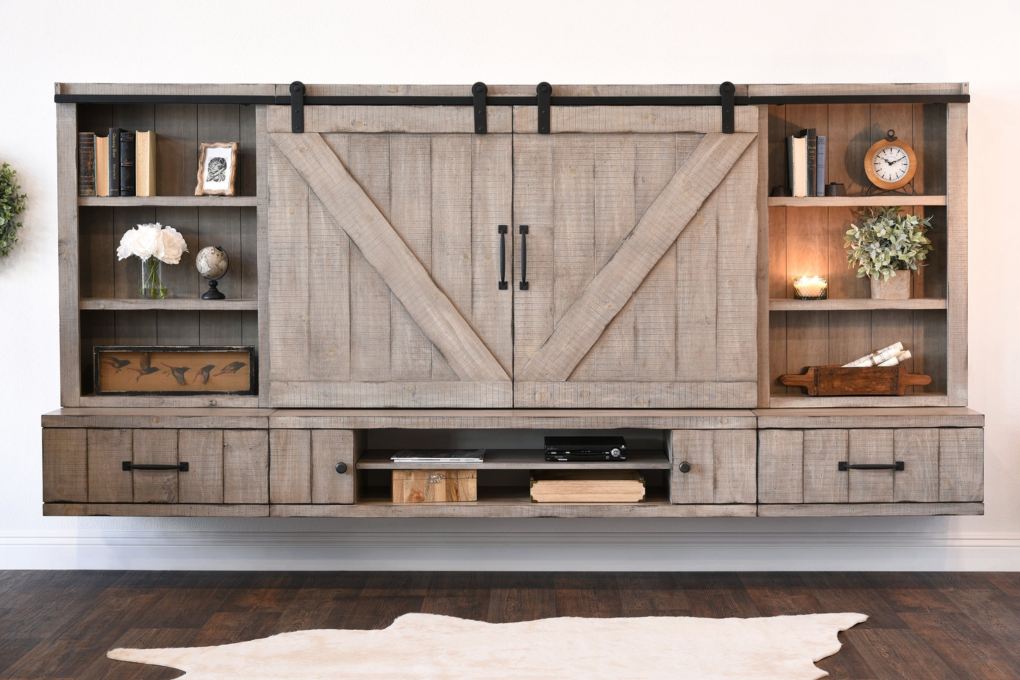 Barn Door Floating TV Stand Entertainment Center   Farmhouse   Driftwood  Gray