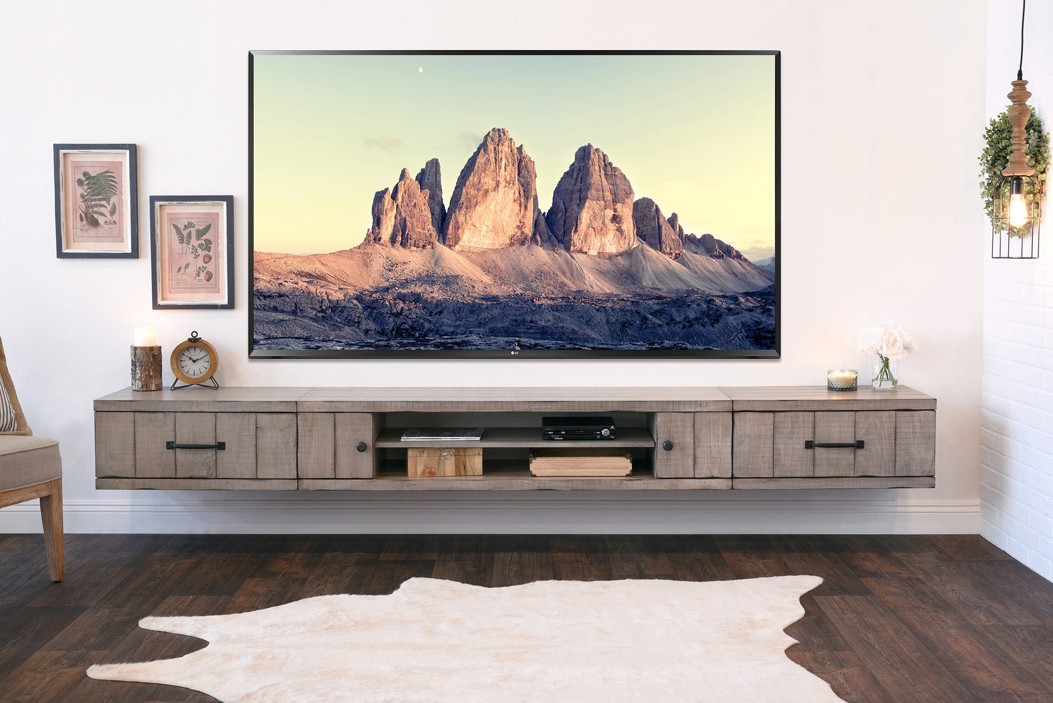 Gray Rustic Barn Wood Style Floating TV Stand Entertainment Center   Farmhouse Driftwood Rustic Entertainment Center N51
