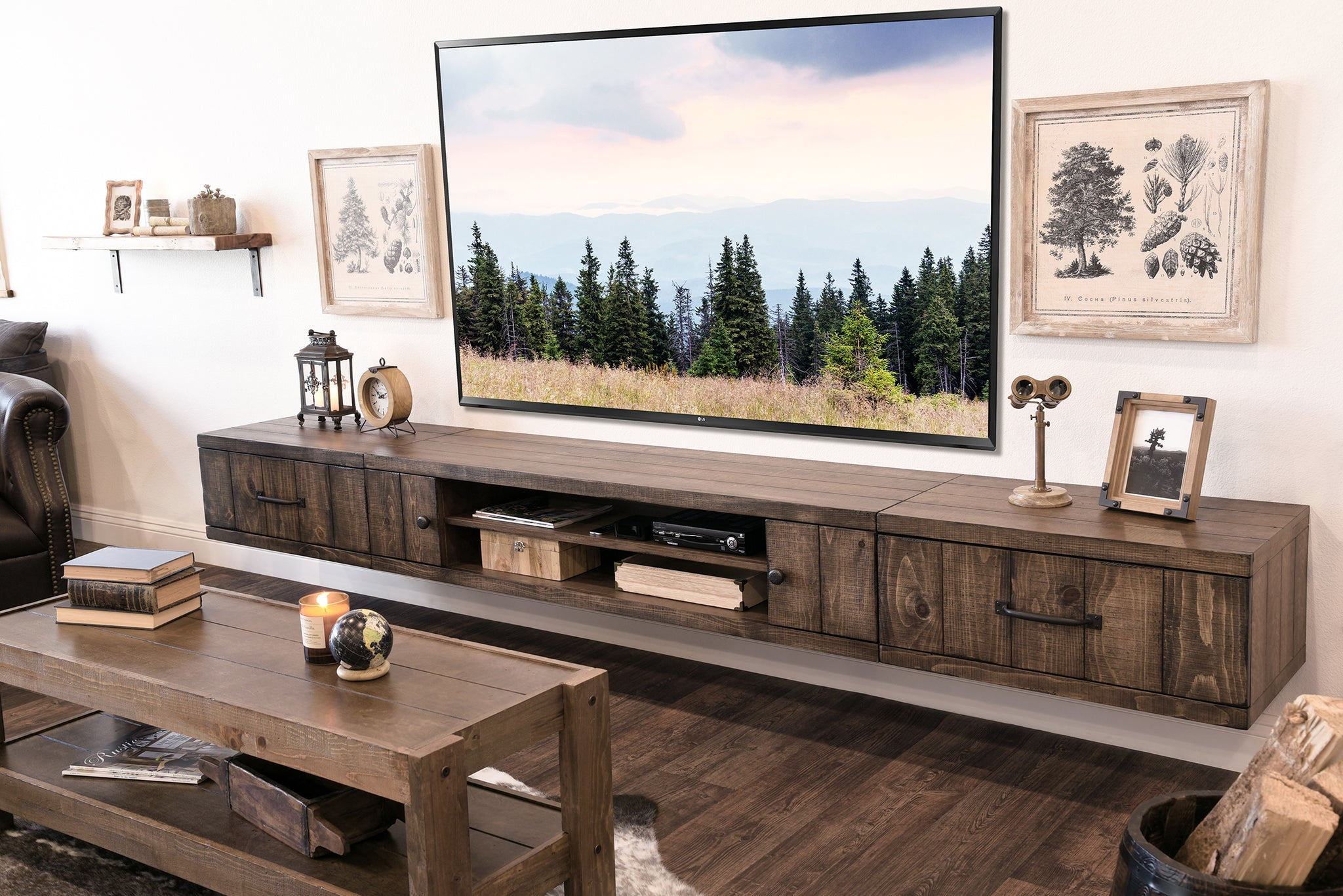 Farmhouse Rustic Wood Floating Tv Stand Entertainment