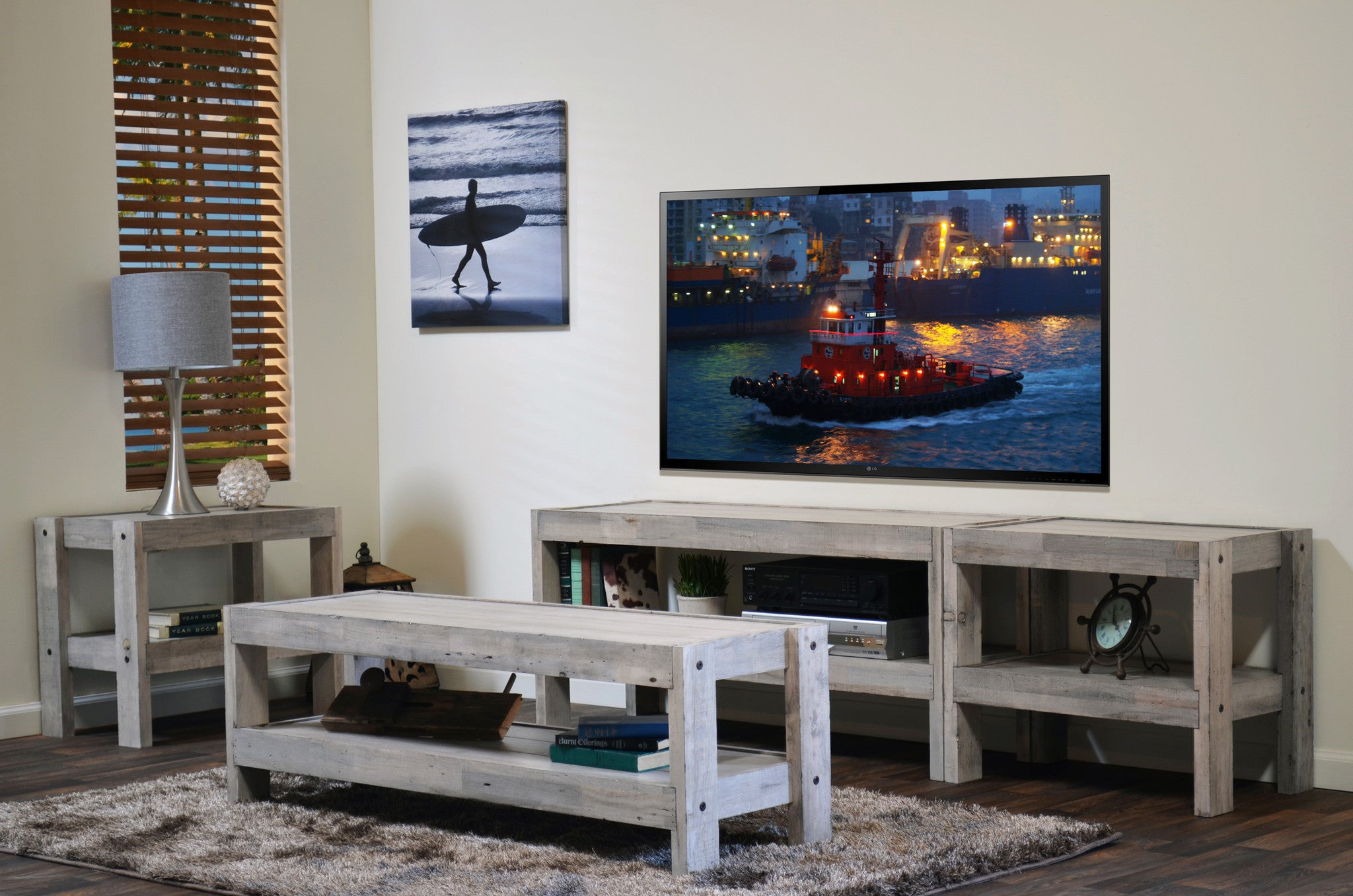 Coastal Gray Beach House TV Stand Entertainment Center & Coffee