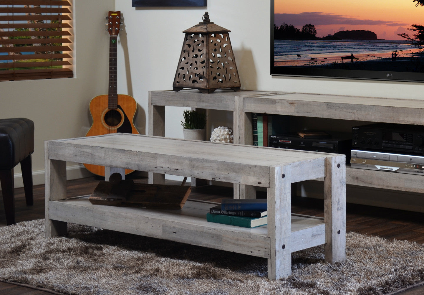 Nautical TV Stand Entertainment Center & Coffee Table - presEARTH Driftwood - Coffee Tables - Woodwaves
