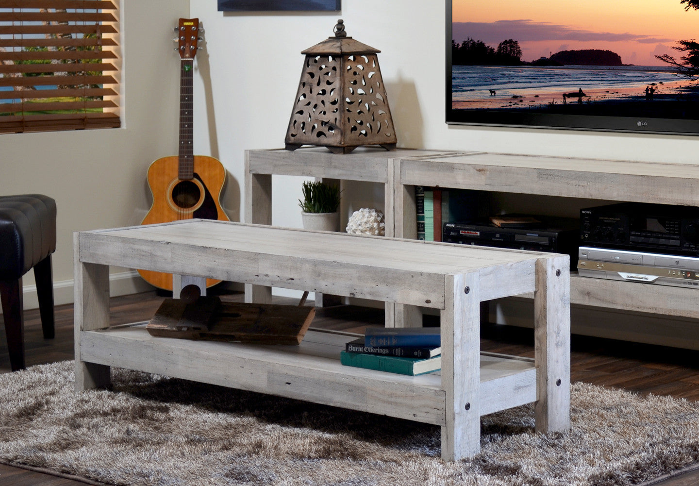 Gray Beach House Coastal Coffee Table   PresEARTH Driftwood