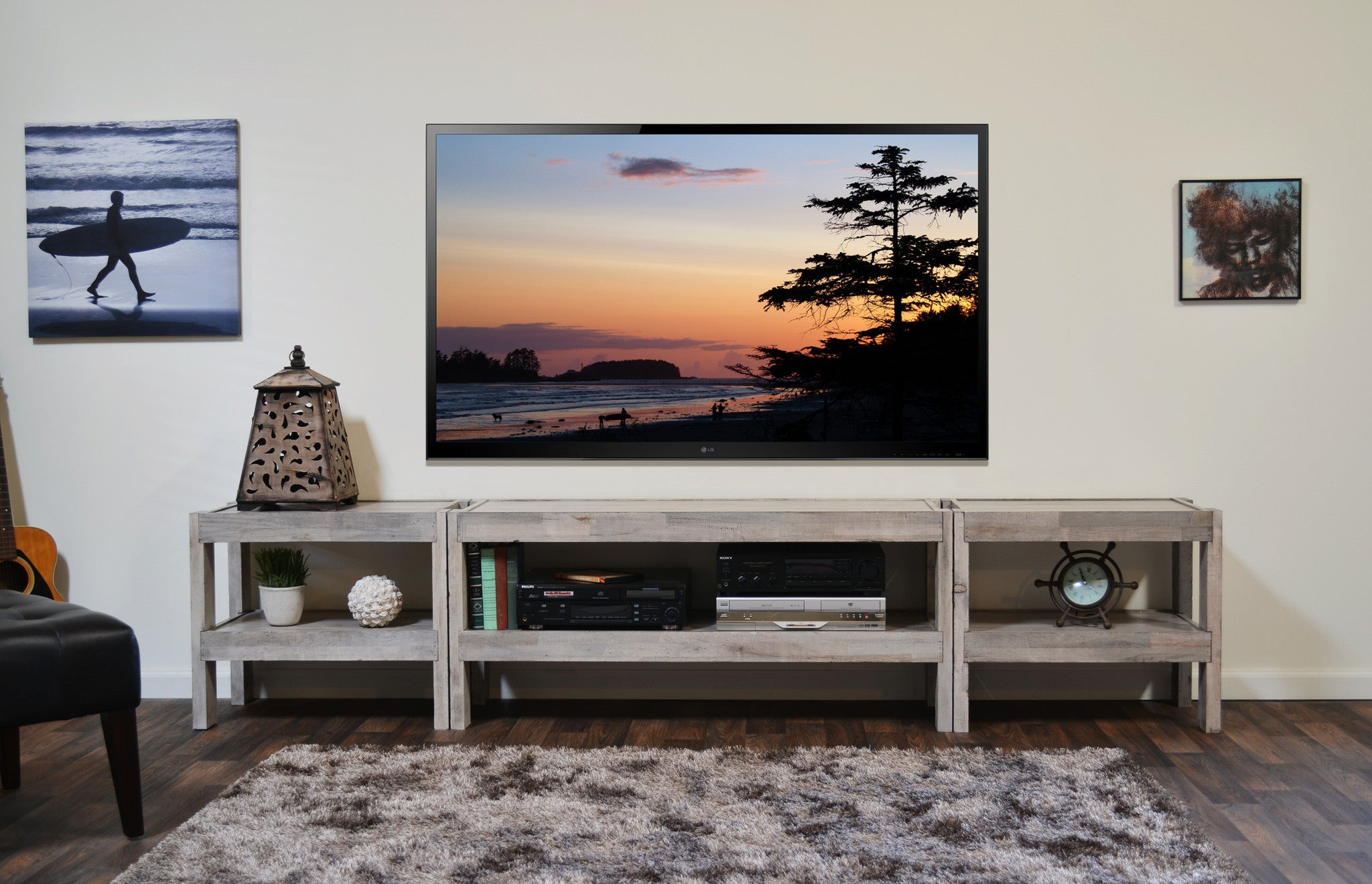 Coastal gray beach house tv stand entertainment center for Meuble console tv