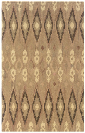 Neutral Area Rugs. Beige Ikat Diamond Pattern Wool Rug